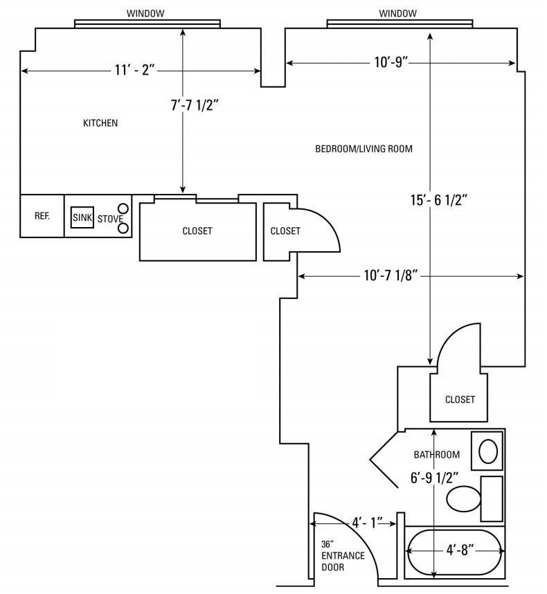 Studio Apartment Floorplan at Isabella House